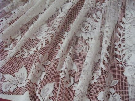 Vintage Cotton Ivory Cream Nottingham, Butterfly Garden Lace curtain 76cms drop